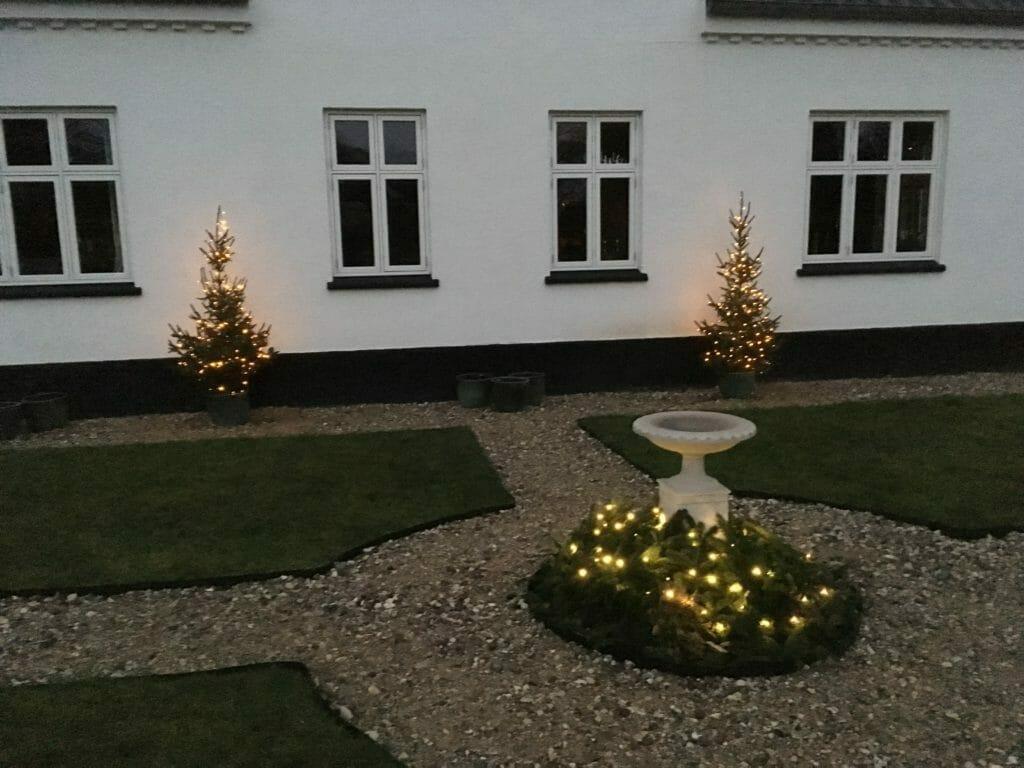 juletræ med lys foran huset