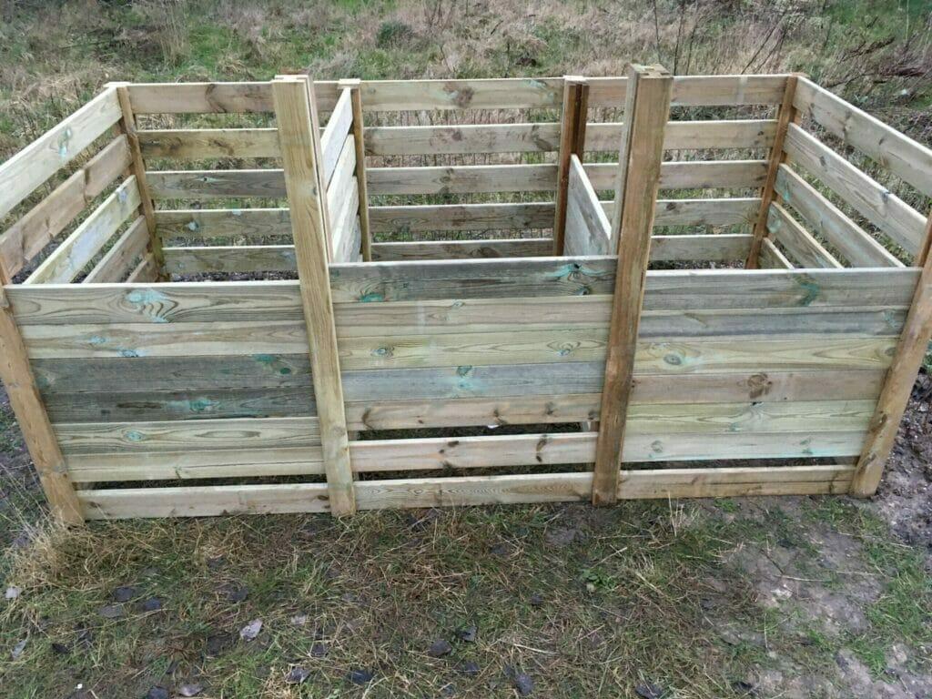 kompostbeholder kompost tredelt hjemmelavet
